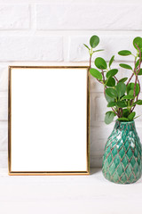Empt golden frame mockup  with copy space