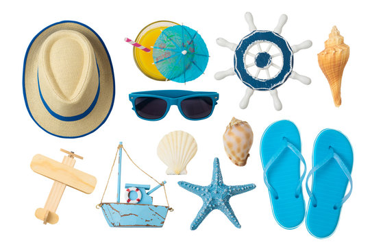 Summer holiday vacation concept with beach and travel accessories isolated on white background.