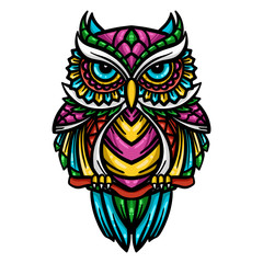 colorful owl zentangle art illustration - Vector