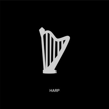 white harp vector icon on black background. modern flat harp from music and media concept vector sign symbol can be use for web, mobile and logo.