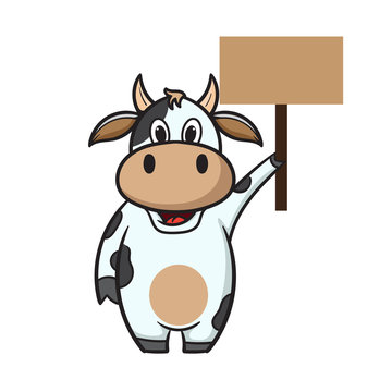cute cartoon cow holding text board vector illustration