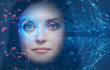 Woman head, face recognition technology and HUD