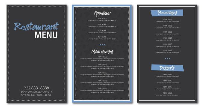 Restaurant menu flyer template design