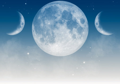 Light blue wallpaper with realistic triple moon Wiccan symbol.