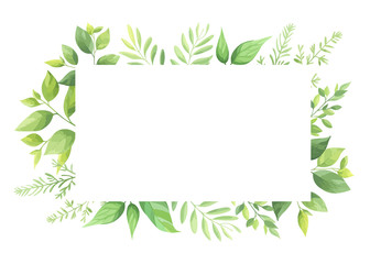 Green leaves frame template. Vector illustration. Wall mural