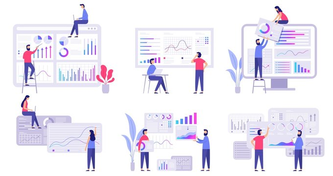 Market forecast. Trends analytics, business marketing strategy and market forecasting. Banking digital trading, blockchain finance analysis diagram. Flat vector isolated illustration icons set
