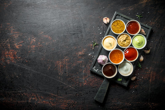 Set of a variety of sauces.