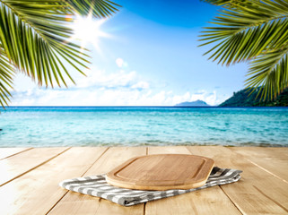 Desk of free space for your decoration and summer time on beach