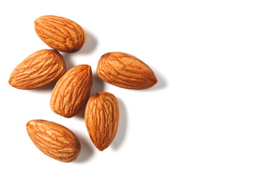 Almonds nut isolated on white background.