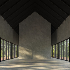Wall Mural - Loft style empty room with nature view 3d render,There are polished concrete floor and wall,black wood ceiling,There are large windows look out to see the nature,sunlight shining into the room.