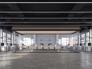 Modern loft style office with white brick walls, polished concrete floors and black ceilings that show the building system, decorated with white furniture,3d redering image.