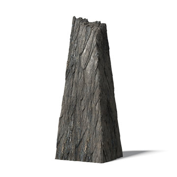monolith, ancient standing stone isolated on white background