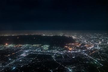 東京湾夜景航空写真 千葉付近(東京・千葉)