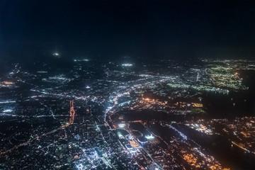 東京湾夜景航空写真 浦安付近(東京・千葉)