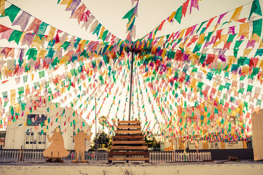 Oeiras, Brazil - Circa June 2019: Decorations for the June Festivals (aka festas de Sao Joao) in the historic center of Oeiras