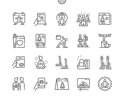 International Yoga Day Well-crafted Pixel Perfect Vector Thin Line Icons 30 2x Grid for Web Graphics and Apps. Simple Minimal Pictogram