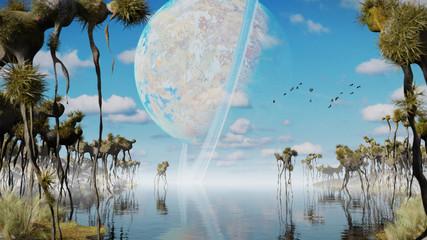 Spoed Fotobehang Blauw exoplanet landscape, alien world with strange plants and flying creatures (3d space illustration)