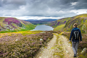Hiking trail in Cairngorms National Park. Route down to Loch Lee, Angus, Scotland, UK