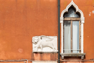 Winged lion, symbol of Venice, Italy