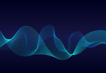 Abstract  wavy particles surface on dark blue background. Soundwave of gradient lines. Modern digital frequency  equalizer on abstract background. vector eps10