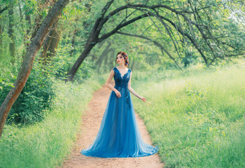 incredible cute sea princess walks through a red fairy forest alone, a magic fairy in a green turquoise dress, a cute dark-haired nymph like a magic flower, a lady on a secret path, creative colors Fotomurales