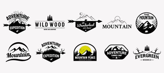 Set of vector mountain and outdoor adventures logo designs, vintage style