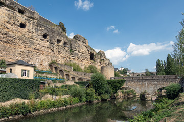 Bridge over Alzette river in Luxembourg city downtown Grund