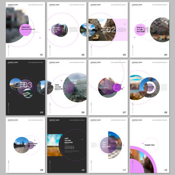 Minimal brochure templates with circle elements on white background. Templates for flyer, leaflet, brochure, report, presentation, advertising.