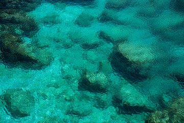 Clear blue calm Sea water background on a rocky coast