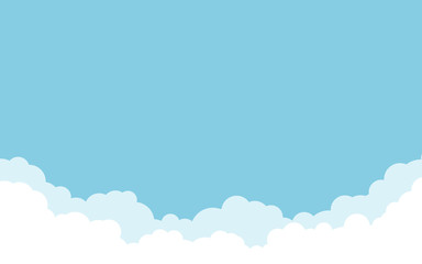Blue sky with white clouds background. Cartoon flat style design. Vector illustration