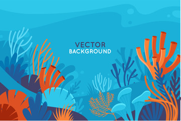 Vector set of social media stories design templates, backgrounds with copy space for text - background with underwater scene and nature