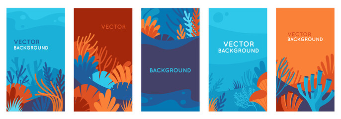 Vector set of social media stories design templates, backgrounds with copy space for text - background with underwater scene and nature - fototapety na wymiar