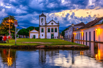 Wall Mural - Historical center of Paraty at night, Rio de Janeiro, Brazil. Paraty is a preserved Portuguese colonial and Brazilian Imperial municipality