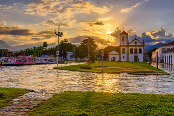 Wall Mural - Historical center of Paraty at sunset, Rio de Janeiro, Brazil. Paraty is a preserved Portuguese colonial and Brazilian Imperial municipality