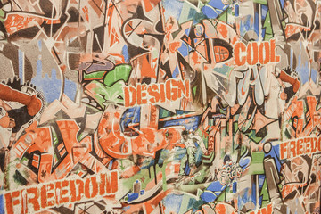 background wallpaper for the newspaper with colorful banners and graffiti