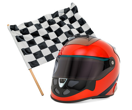 Racing helmet with chequered flag, 3D rendering