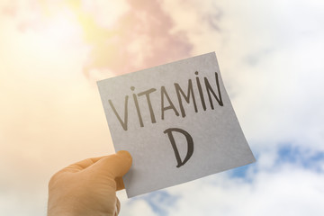 Plate with the inscription vitamin D on the background of nature