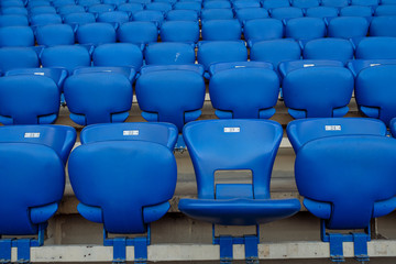 Rows of blue seats in the stand in the sports arena. One seat open and empty Wall mural