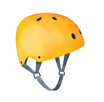 Bright yellow solid multi-sport helmet for adult or children. One single object, side view. Colorful equipment for fun ride to protect head. Hand drawn watercolour sketchy drawing on white background.