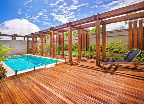 A relaxing pool area