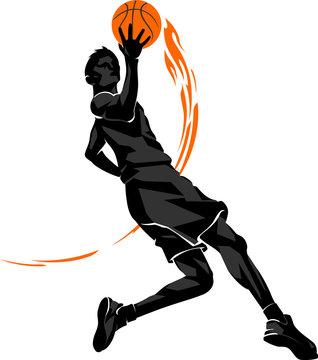 Basketball Mid Air Layup Flame