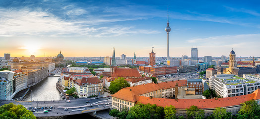 panoramic view at the berlin city center while sunset