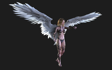 3d Illustration The Heaven Angel Wings, White Wing Plumage Isolated on Black Background with Clipping Path.  Fototapete