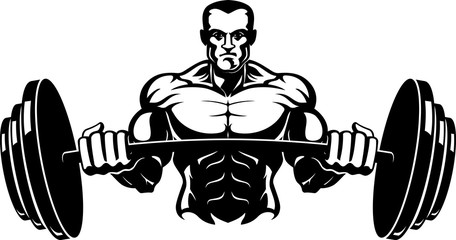 Body Builder Barbell Front View Vector