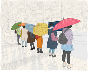 Hand drawn illustration. Women wait at a crosswalk on a rainy day, carrying colorful umbrellas.