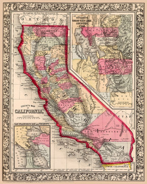 Map of California shows counties and San Francisco Bay area detail, first published circa 1863.  I have selected interesting, old 19th and early 20th century graphic images for digital restoration.
