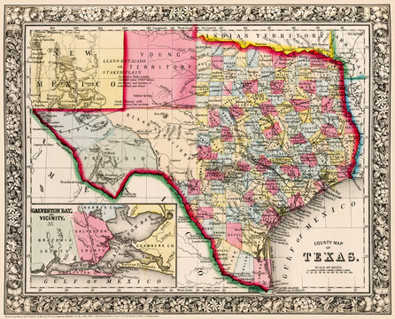 Map of Texas showing counties, first published circa 1863.  I have selected interesting, old 19th and early 20th century graphic images for digital restoration and editing.