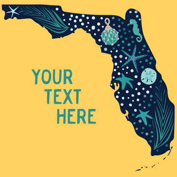 Beautiful state of Florida illustration filled with sea grass, starfish, sand dollars, seahorse and fishing float. Great for tourism, travel, editorial, ecology, beach and resort graphic design.