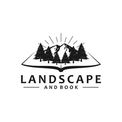 Landscape logo with book cover