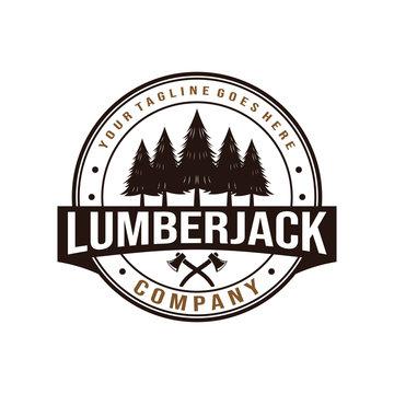 Lumberjack, wood working vintage logo design